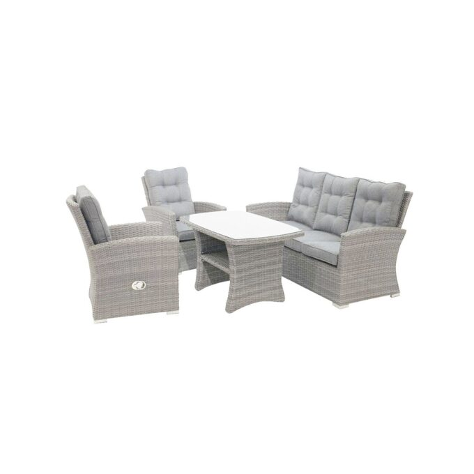 Sofagruppe Nyborg i lysgrå kunstrotting