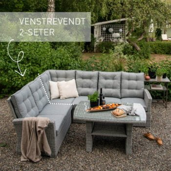Sofagruppe Nyborg i lysgrå, med merket venstrevendt 2 seter