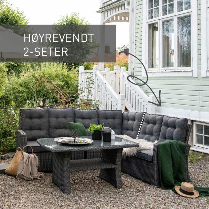 Sofagruppe Nyborg i mørkgrå, med merket høyrevendt 2 seter