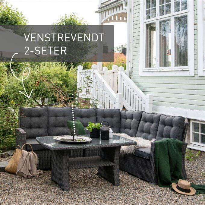 Sofagruppe Nyborg i mørkgrå, med venstrevendt 2 seter