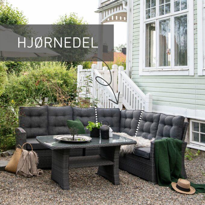 Sofagruppe Nyborg i mørkgrå, med merket hjørnedel