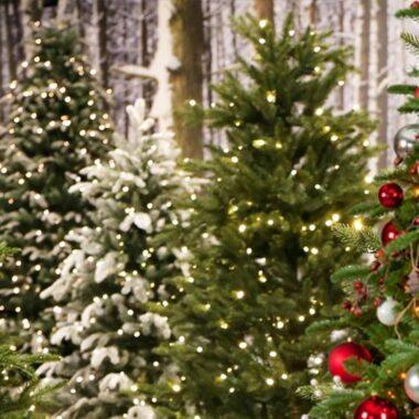 Flotte kunstige juletrær i mange former og varianter