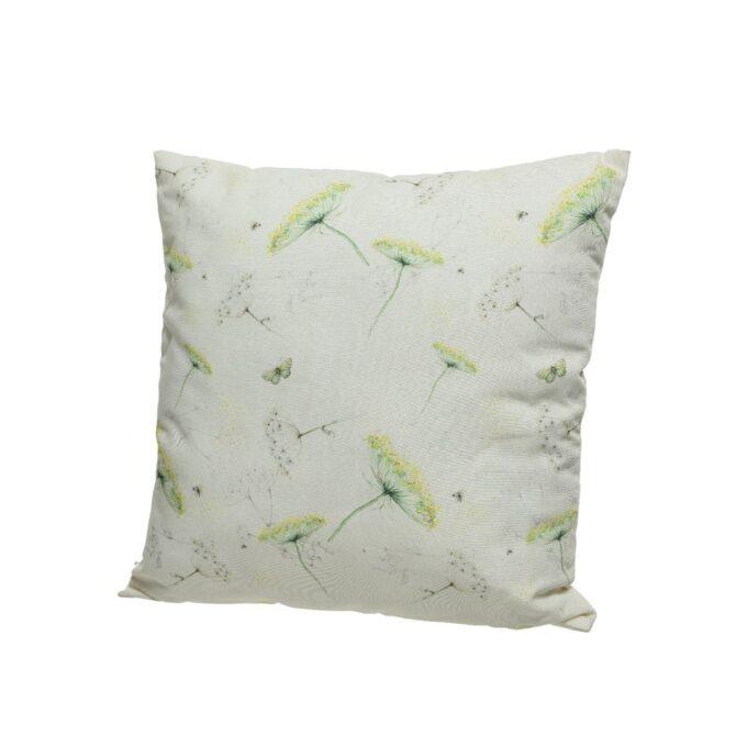 Hvit pute med blomster