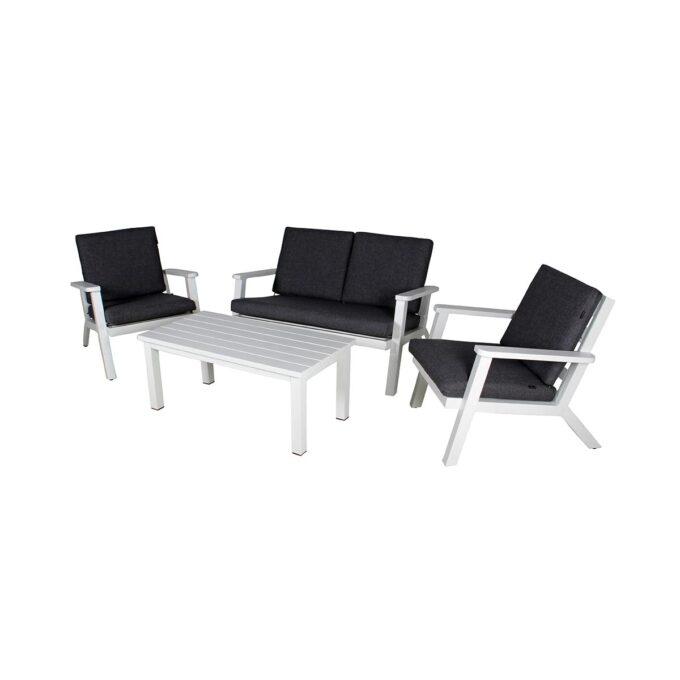 Sofagruppe Orbit i hvit aluminium med mørkegrå puter
