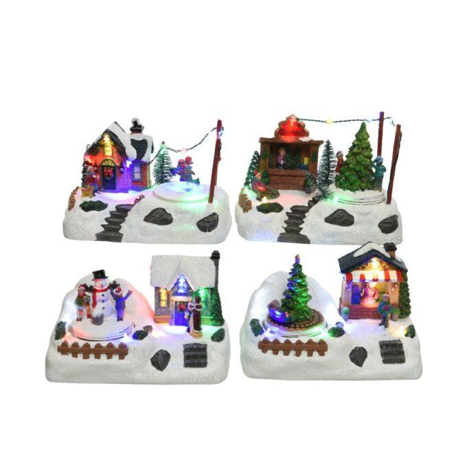 juleby by stemning Stemningsfulle julebyer med lys og bevegelse. Finnes i 4 ulike byer