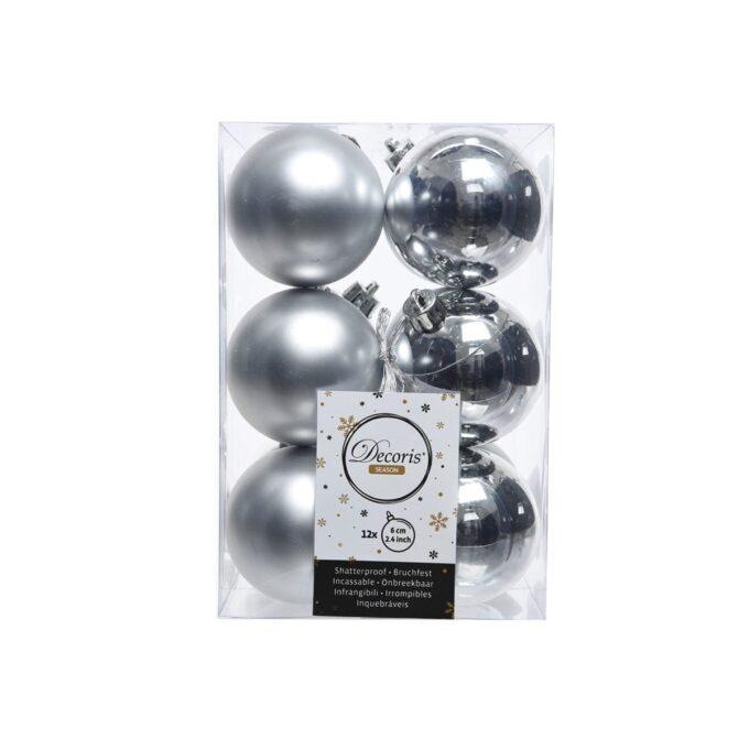 Juletrepynt julekule 12 pk sølv