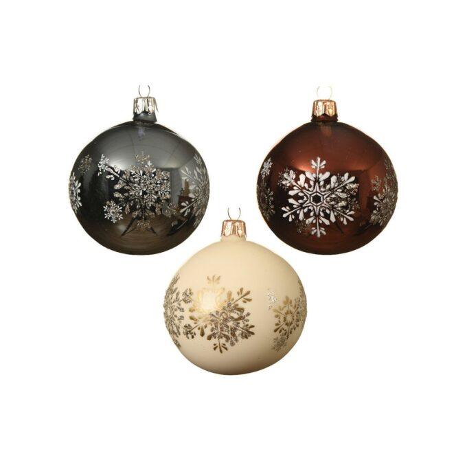Julekule med snøkrystall 3 ass farger