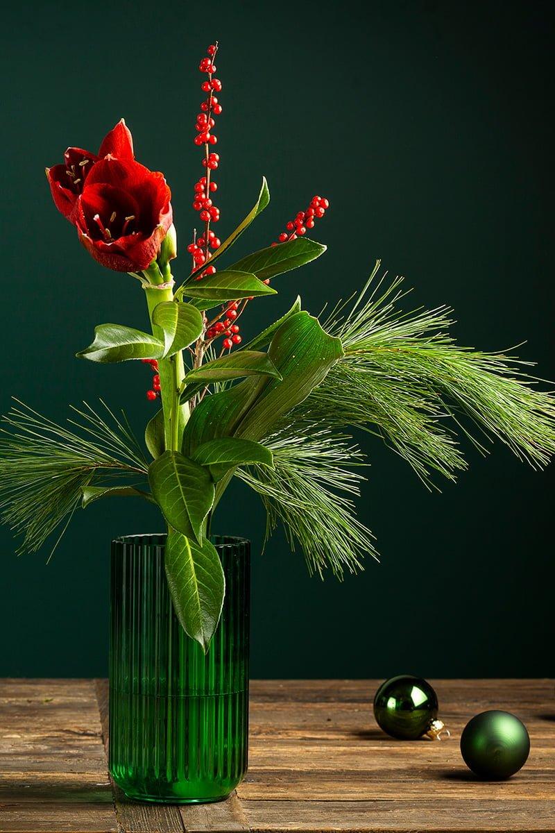 julebukett amaryllis i grønn vase