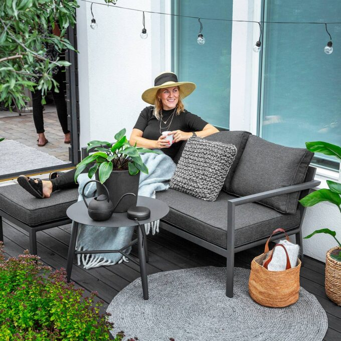 Sofa med sjeselong Delia antrasitt