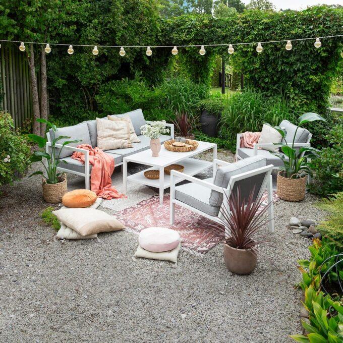 Sofagruppe Belfort hvit aluminium