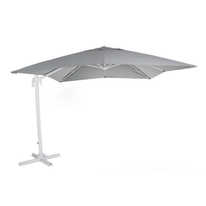 Parasoll Linz fritthengende 3x3 hvit grå