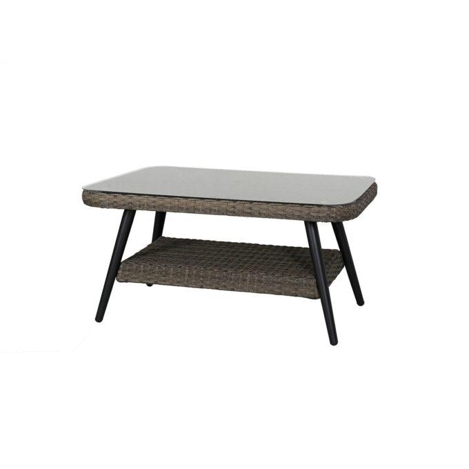 Bord med ramme i aluminium som er trukket med naturfarget kunstrotting. Bordtopp i glass.