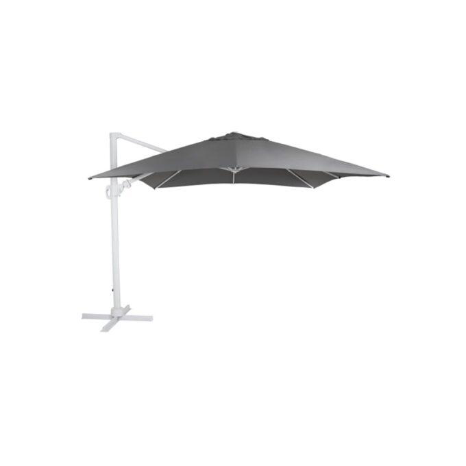 Parasoll Varallo fritthengende 3x3 hvit grå