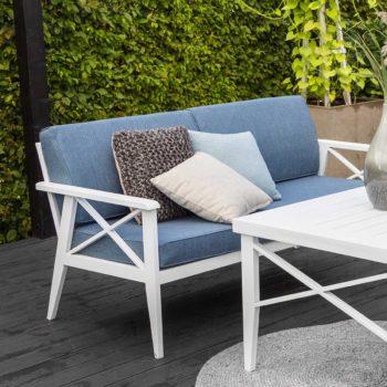 Sofa 2,5 seter Sottenville hvit aluminium