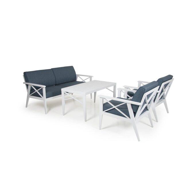 Sofagruppe Sottenville hvit aluminium