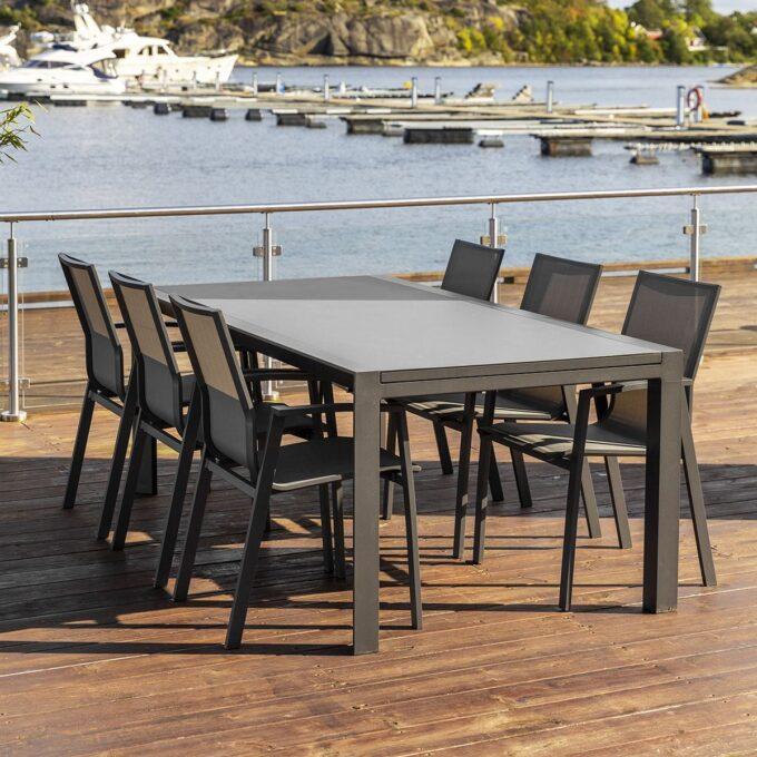 Utrekksbord Mendoza 200 320 cm koksgrå