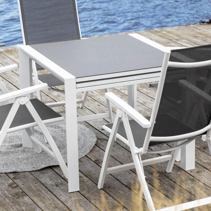 Uttrekksbord Mendoza 90 cm 180 cm hvit