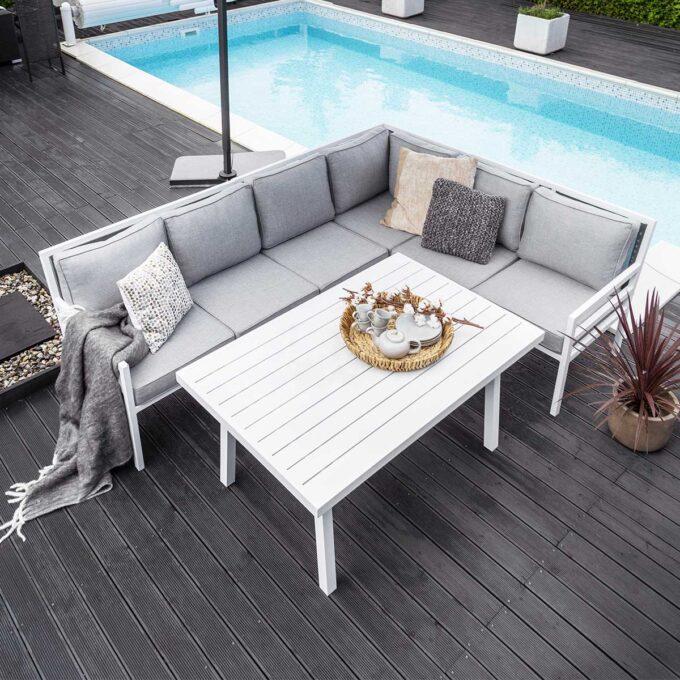 Sofagruppe Bergerac hvit aluminium