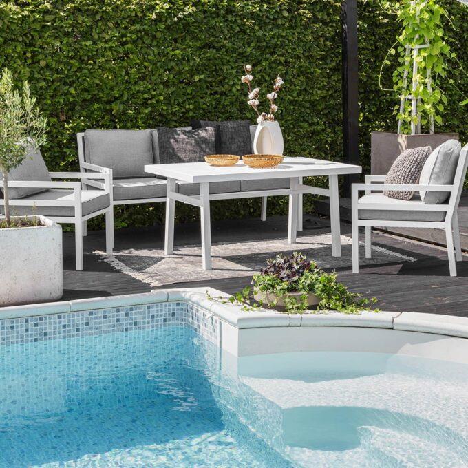 sofagruppe Bergerac hvit matt aluminium