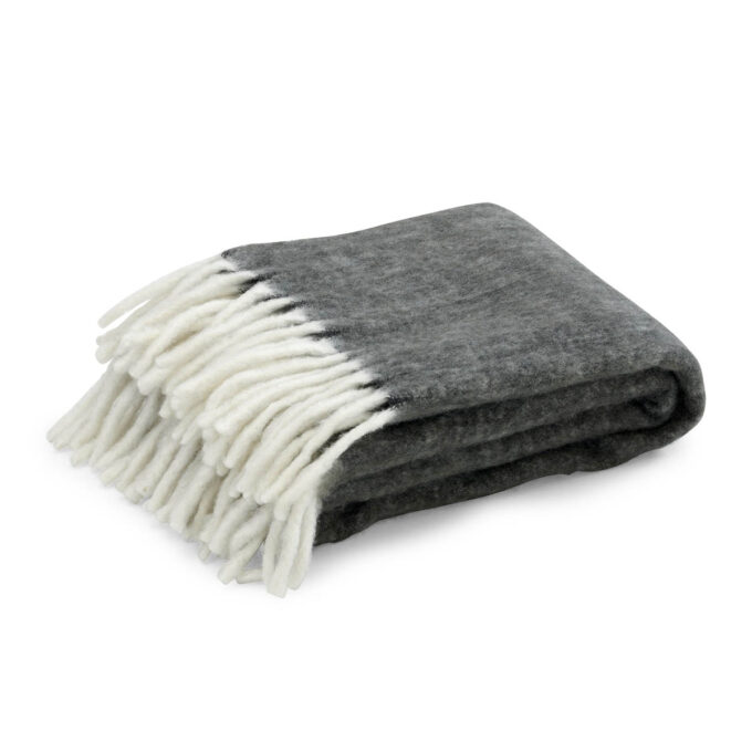 Pledd Handzame grå ullmix