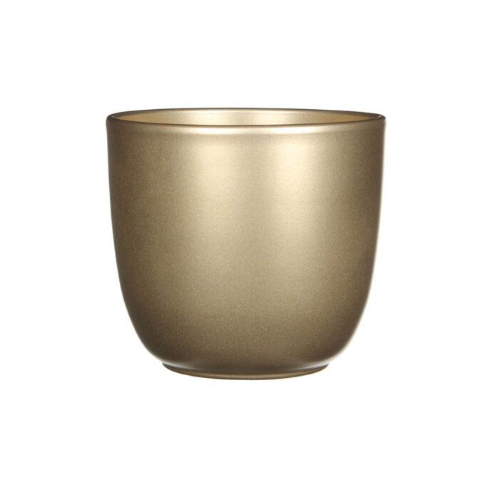 En flott potte i gullfarget keramikk.
