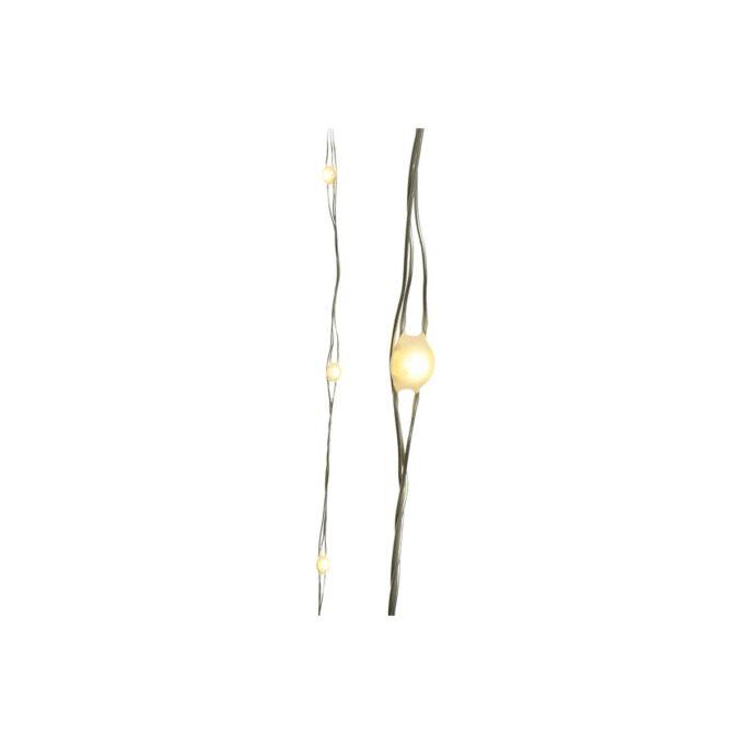 Utendør belysning med microLEDlys festet på ståltråd som gir et fint dråpeformet varmt hvitt lys