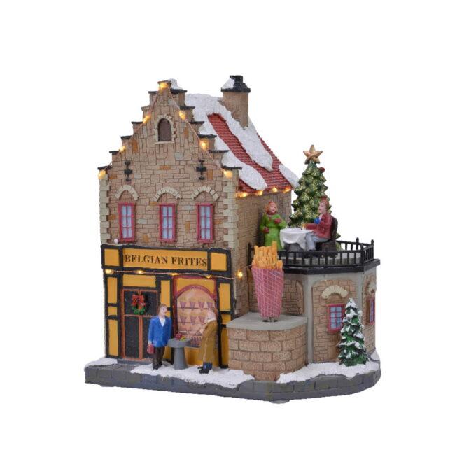 Ekte belgisk fries butikk med fin julestemning. Denne butikken kommer med både lys og bevegelse. Går på batteri.