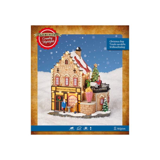 Ekte belgisk fries butikk med fin julestemning. Denne butikken kommer med både lys og bevegelse. Går på batteri. pakningen