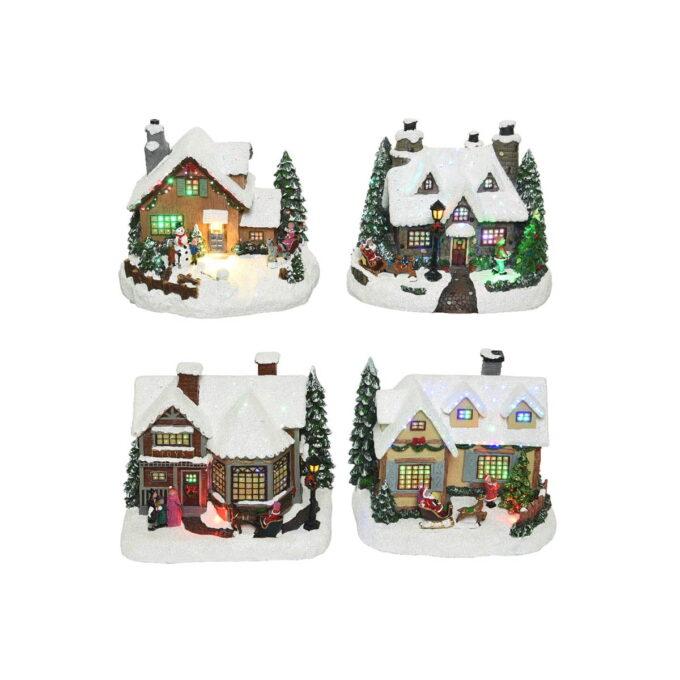 Fire forskjellige hus til julebyen. Assortert utvalg, pris er pr stk. Disse kommer med lys og går på batteri.