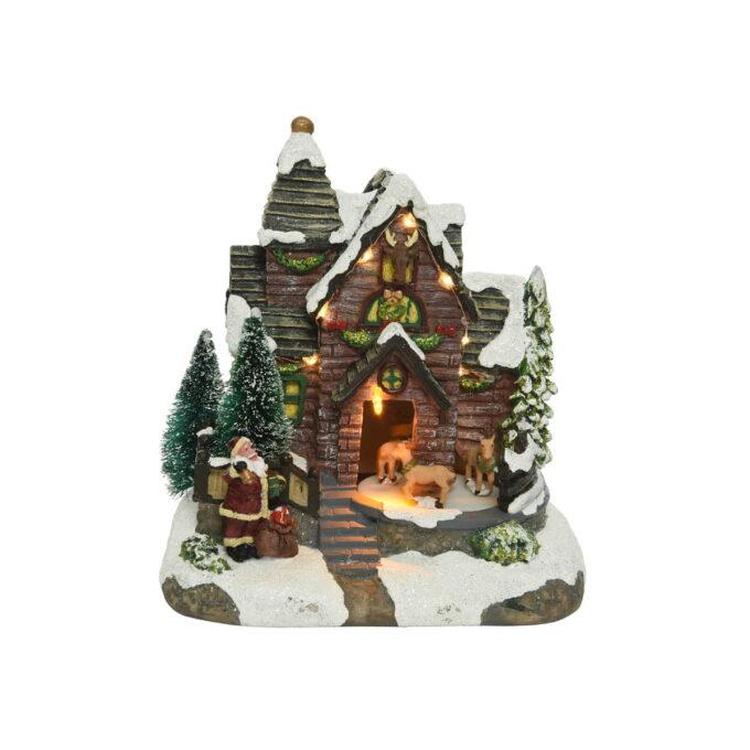 Julenissen kommer på besøk med gaver. Julehus med lys, og bevegelse på dyrene- Denne går på batteri.