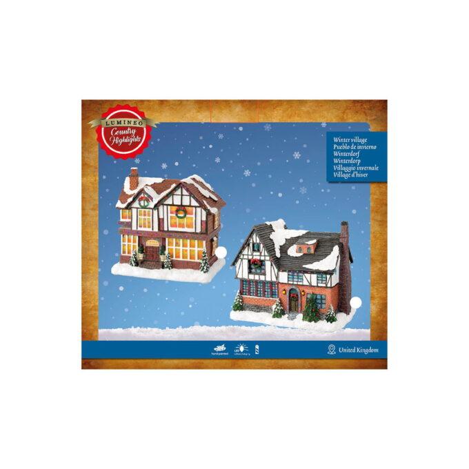 Koselige hytter til julebyen her kan en skape en fin julestemning i julebyen. Hyttene kommer med lys og går på batteri. Pakningen