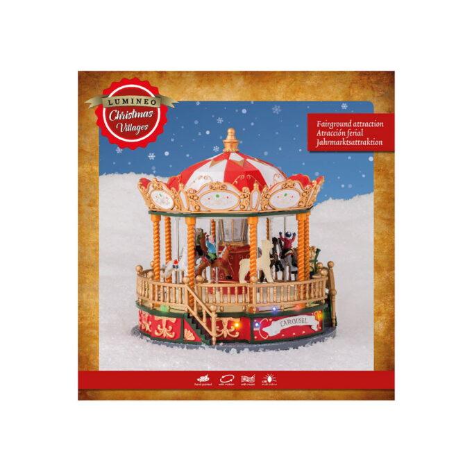Nydelig karusell med lys, lyd og bevegelse. Dette skaper julemagi! Denne går på strøm. tørrelse: 23x23x24 cm-15 Lys. 1,8 meter ledning.