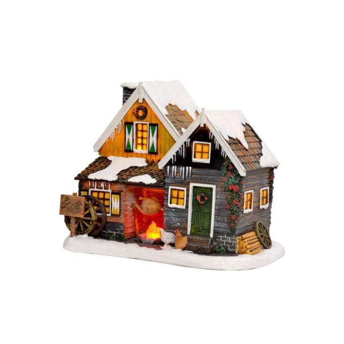 Juleby kyllinggård Luville Koslige hus med lys i vinduene og med hønsene på tunet? 19,5cmx14,5cmx15,5cm høy. Batteri 2xAA