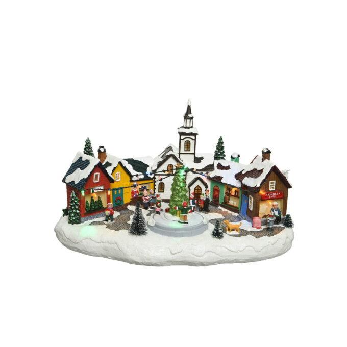 Koselig norsk julemarked der du får julestemning. Kommer med bevegelse og lys. Denne går på strøm.