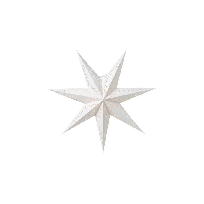 Hvit adventsstjerne med et dekorativt mønster av runde og stjerneformede hull Diameter 60 cm. Husk ledning