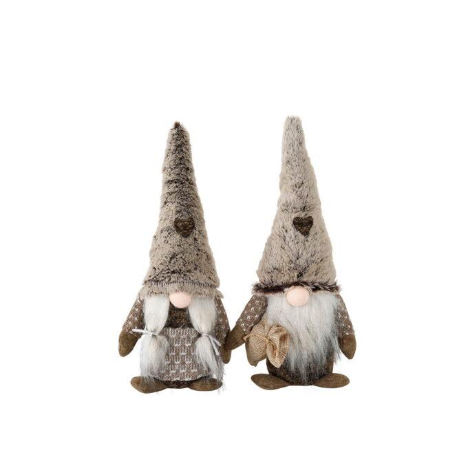 Fjellnissen passer godt til de som vil ha en koselig nisse til jul, men ikke ønsker en tradisjonell nisse i rødt. Fjellnissen kommer i duse bruntoner, både i mann og kone. Finnes i str 34 cm og 43 cm.