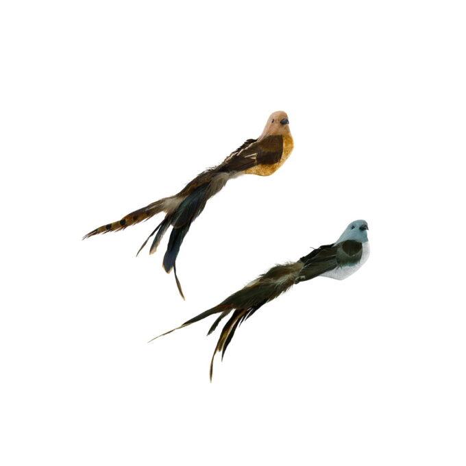 Nydelige fugler til å feste i juletreet. Kommer i assorterte farger i brun og blå.