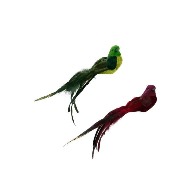 Nydelige fugler til å feste i juletreet. Kommer i assorterte farger i rød og grønn.