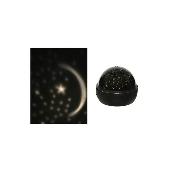 Prosjektor innendørs måne og stjerner BAtteri 3xAA. Størrelse 16x13 cm