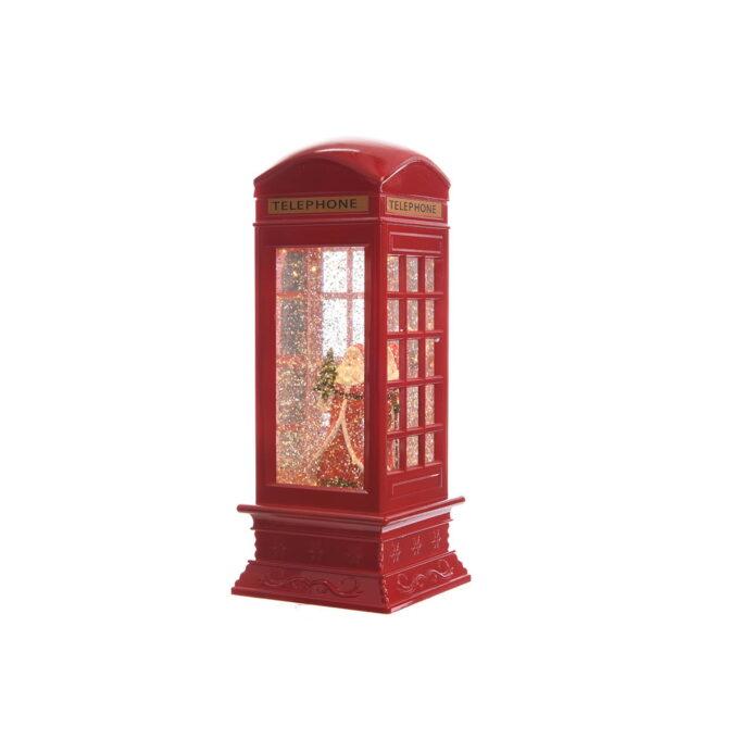 Nostalgisk telefonboks med lys og glitter i vann som beveger seg. Rød og man trenger 4xAAA batterier