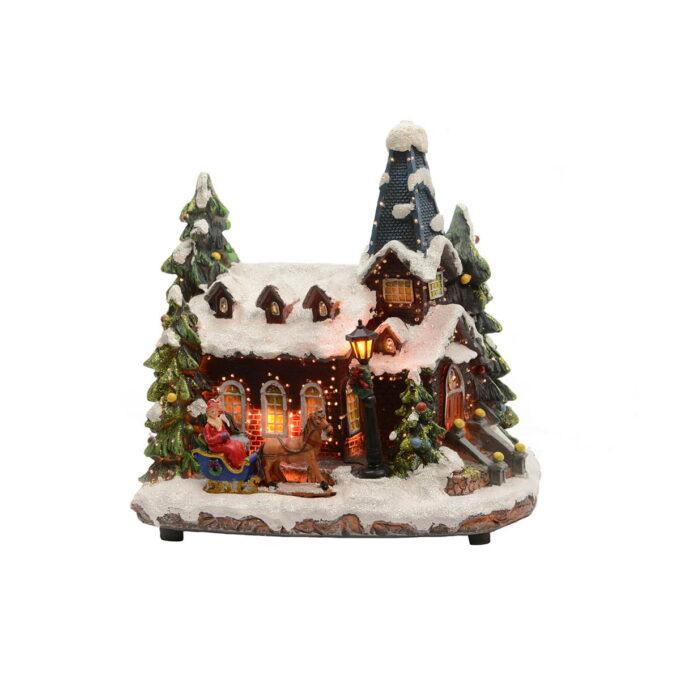 Juleby kirke Høyde 27 cm Flott kirke til julebyen din som går på strøm.
