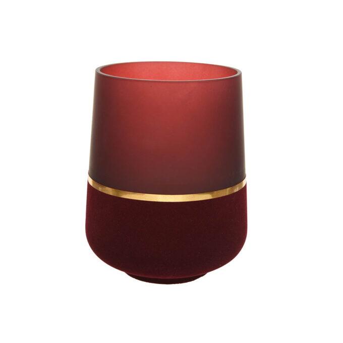 Lyslykt i dyprød farge med gulldetaljer . Denne har en høyde på 19 cm og en Diameter på 15 cm