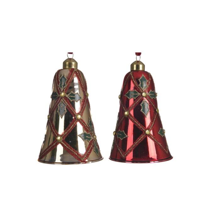 juleklokker i assorterte farger gull og rød med glitter. 2 pakk