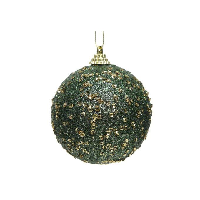 Juletrepynt julekule i dypgrønn, med paljetter. Diameter er på 8 cm