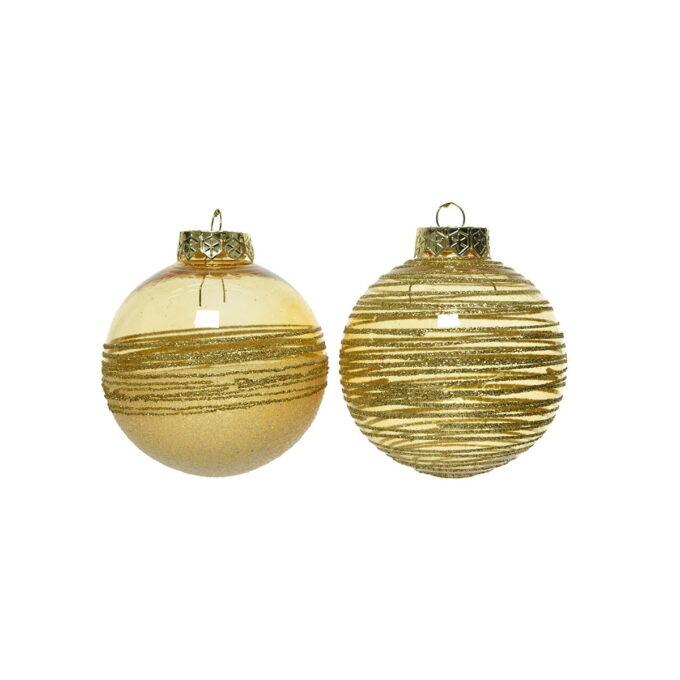 Juletrepynt julekule i gull med glitter. Kommer i to assorterte utgaver. Pris pr stykk