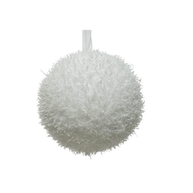Juletrepynt julekule hvit med paljetter diameter er 8 cm