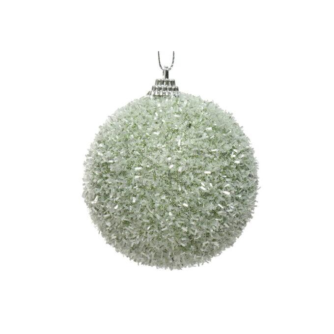 Juletrepynt julekule i lys grønn, med paljetter. diameter er 8 cm