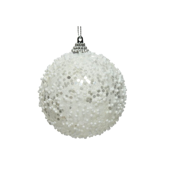 Juletrepynt julekule vinterhvit med paljetter diameter er 8 cm