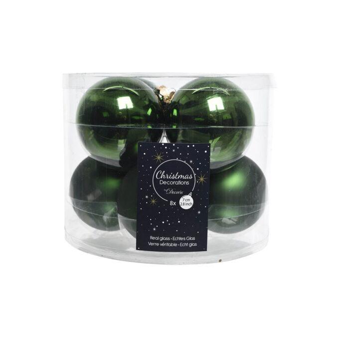 6 grønne julekuler i glass Diameter er 7 cm