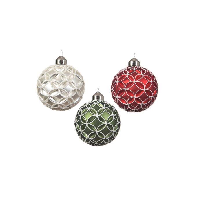 Dekorative julekuler i assorterte tradisjonelle julefarger. rød, grønn og hvit. Pris pr stykk